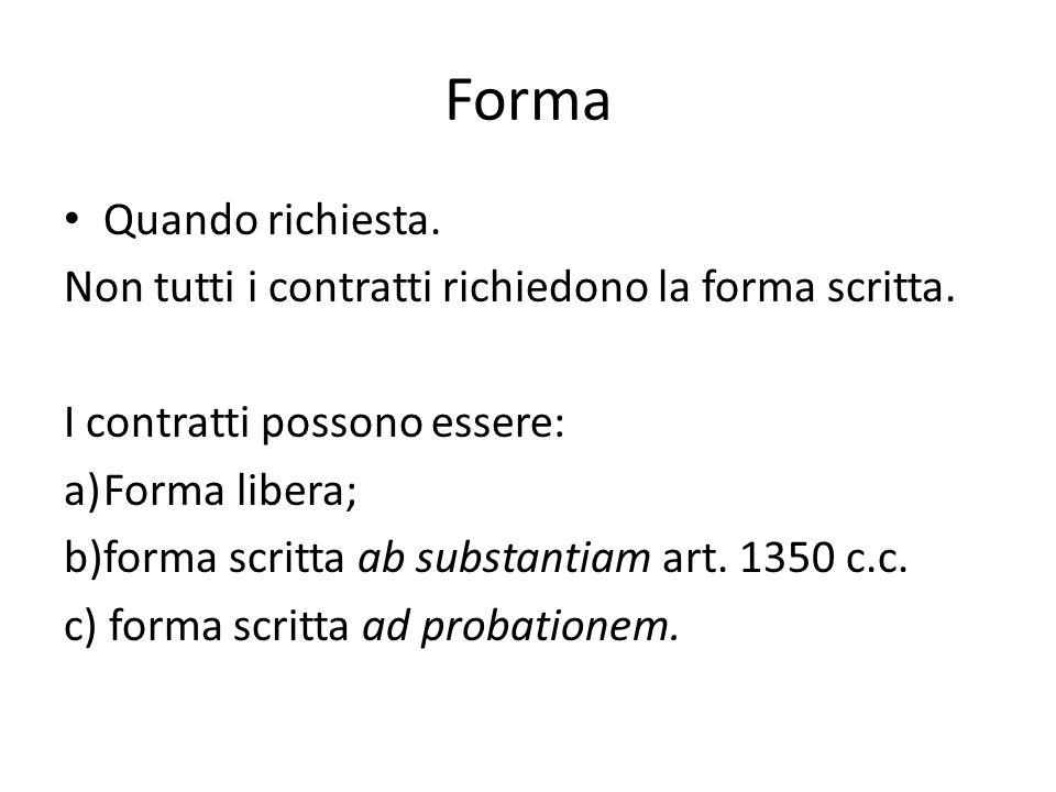 Forma Quando richiesta. Non tutti i contratti richiedono la forma scritta. I contratti possono essere: a)Forma libera; b)forma scritta ab substantiam