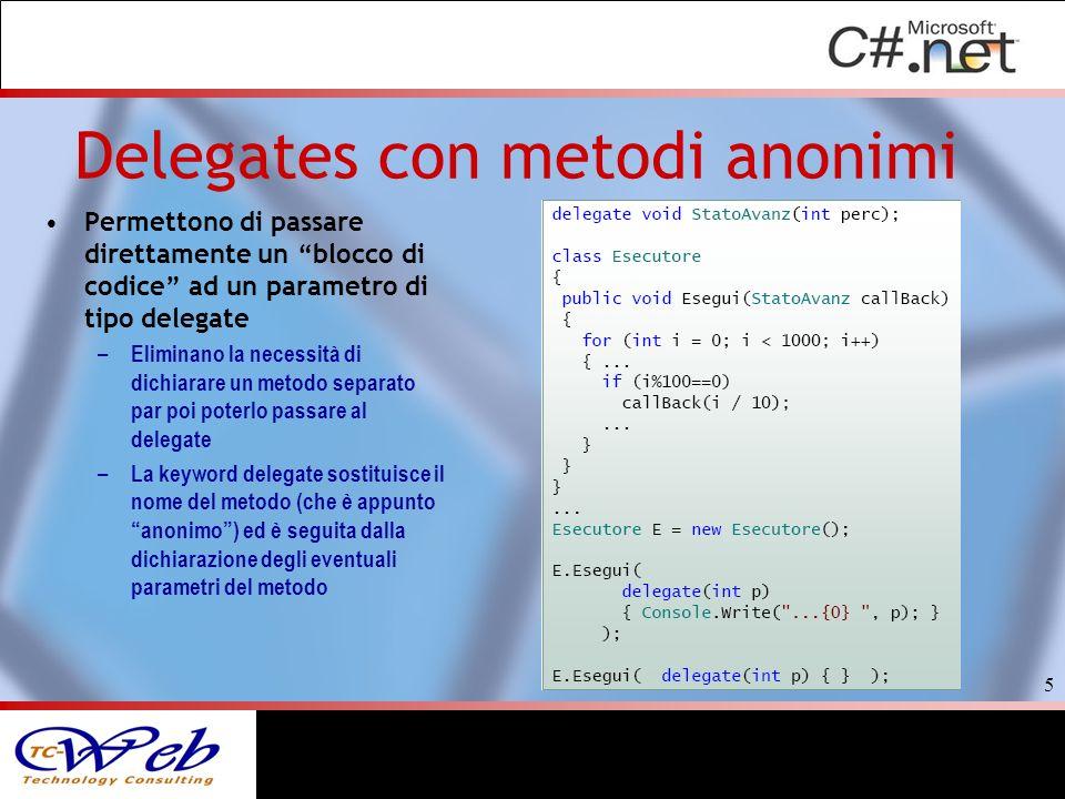Permettono di passare direttamente un blocco di codice ad un parametro di tipo delegate – Eliminano la necessità di dichiarare un metodo separato par