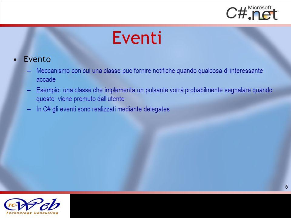 Eventi Evento –Meccanismo con cui una classe può fornire notifiche quando qualcosa di interessante accade –Esempio: una classe che implementa un pulsa