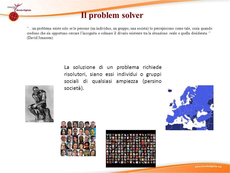Il problem solver...un problema esiste solo se le persone (un individuo, un gruppo, una società) lo percepiscono come tale, ossia quando credono che s