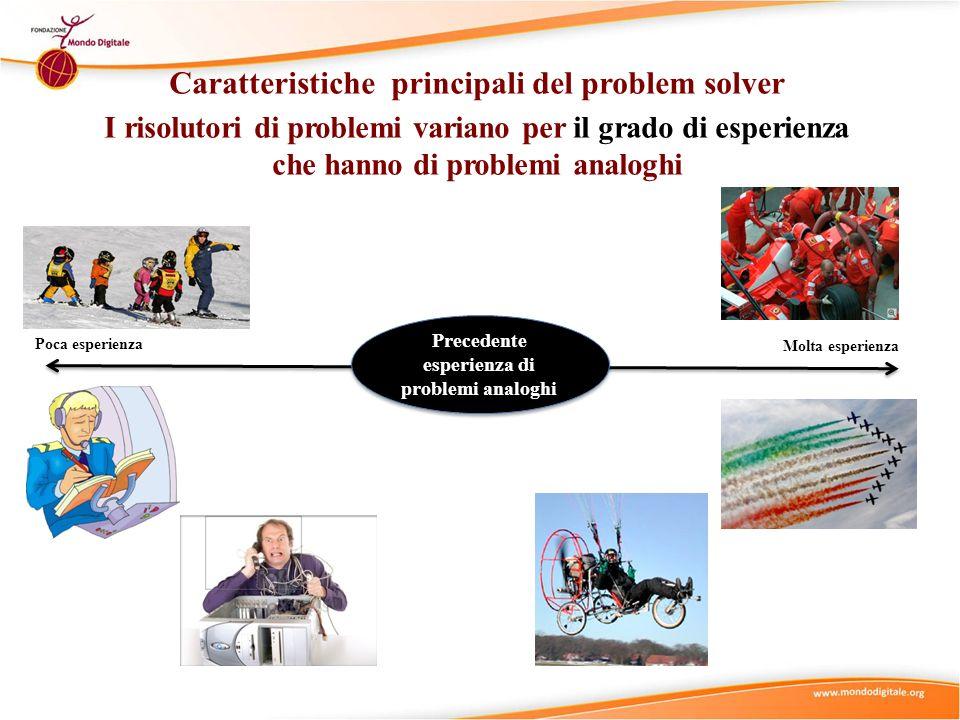 Caratteristiche principali del problem solver I risolutori di problemi variano per il grado di esperienza che hanno di problemi analoghi Molta esperie