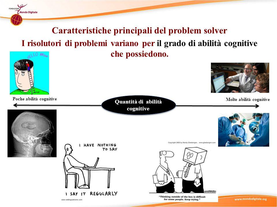 Caratteristiche principali del problem solver I risolutori di problemi variano per il grado di abilità cognitive che possiedono. Molte abilità cogniti