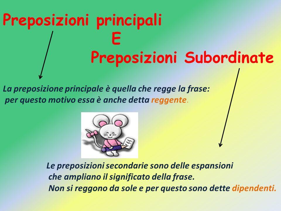 Preposizioni principali E Preposizioni Subordinate La preposizione principale è quella che regge la frase: per questo motivo essa è anche detta reggen