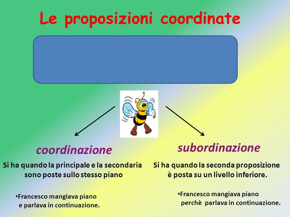 Le proposizioni coordinate La proposizione principale può essere collegata alla proposizione subordinata tramite: coordinazione subordinazione Si ha q