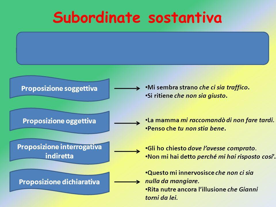 Subordinate sostantiva La proposizione subordinata è detta anche completiva perché ha la funzione di completare il significato della proposizione prin