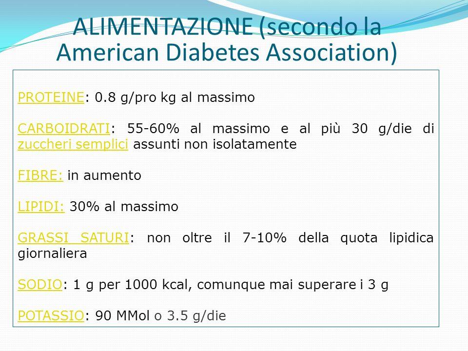PROTEINEPROTEINE: 0.8 g/pro kg al massimo CARBOIDRATICARBOIDRATI: 55-60% al massimo e al più 30 g/die di zuccheri semplici assunti non isolatamente zu