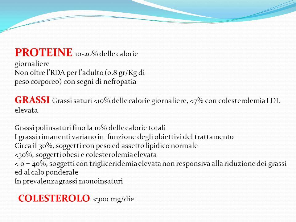PROTEINE 10-20% delle calorie giornaliere Non oltre l'RDA per l'adulto (0.8 gr/Kg di peso corporeo) con segni di nefropatia GRASSI Grassi saturi <10%