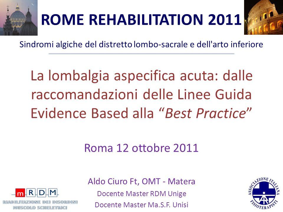 La lombalgia aspecifica acuta: dalle raccomandazioni delle Linee Guida Evidence Based alla Best Practice Roma 12 ottobre 2011 Aldo Ciuro Ft, OMT - Mat