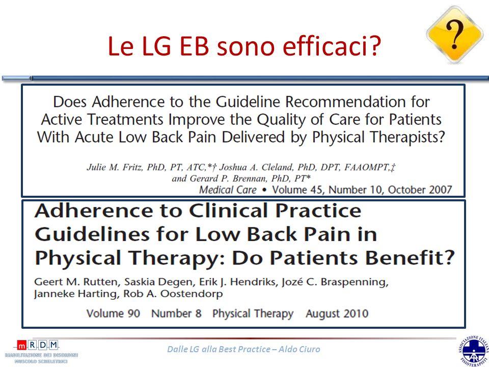 Dalle LG alla Best Practice – Aldo Ciuro I risultati di questi studi dimostrano che trattamenti aderenti alle raccomandazioni delle LG sono più effica