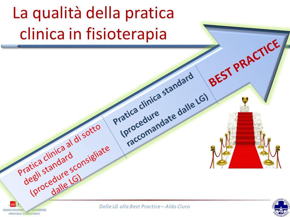Dalle LG alla Best Practice – Aldo Ciuro La qualità della pratica clinica in fisioterapia Pratica clinica standard (procedure raccomandate dalle LG) B