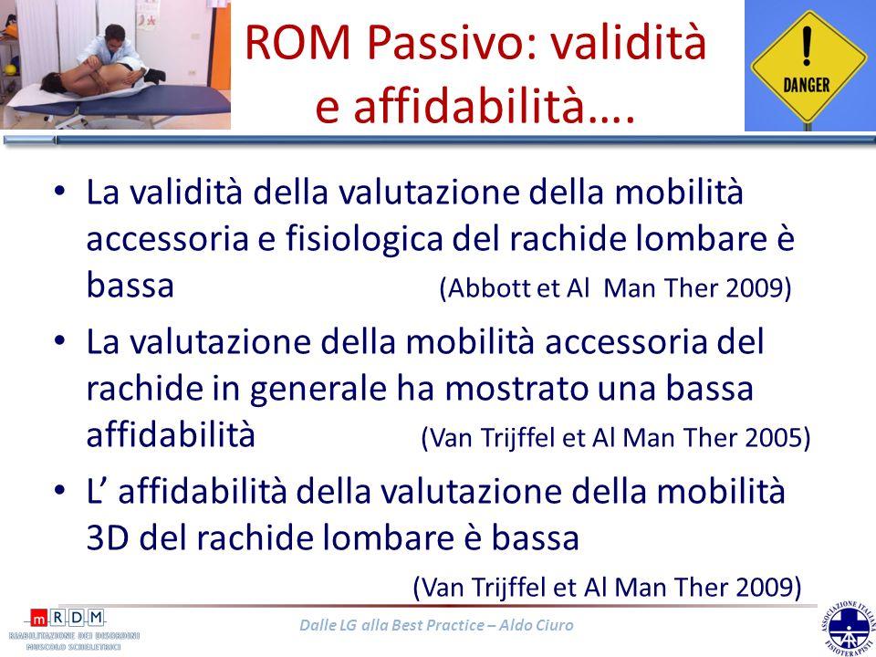 Dalle LG alla Best Practice – Aldo Ciuro ROM Passivo: validità e affidabilità…. La validità della valutazione della mobilità accessoria e fisiologica