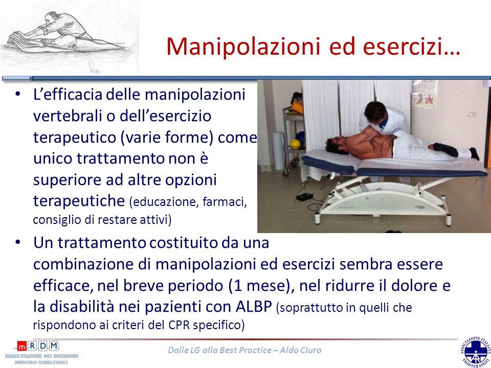 Dalle LG alla Best Practice – Aldo Ciuro Manipolazioni ed esercizi… Lefficacia delle manipolazioni vertebrali o dellesercizio terapeutico (varie forme
