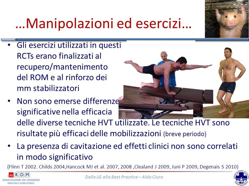 Dalle LG alla Best Practice – Aldo Ciuro …Manipolazioni ed esercizi… Gli esercizi utilizzati in questi RCTs erano finalizzati al recupero/mantenimento