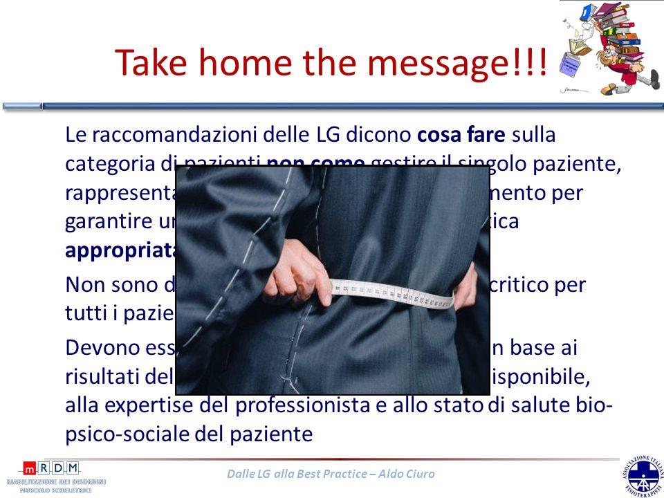 Dalle LG alla Best Practice – Aldo Ciuro Take home the message!!! Le raccomandazioni delle LG dicono cosa fare sulla categoria di pazienti non come ge