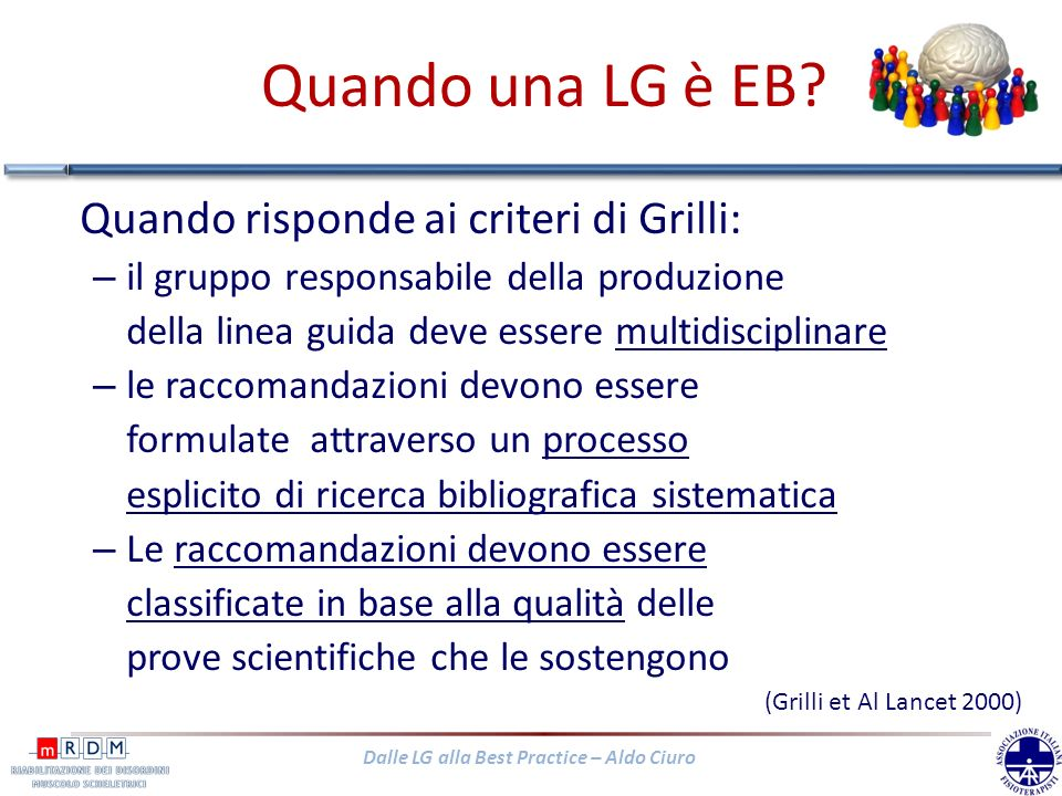 Dalle LG alla Best Practice – Aldo Ciuro LG EB sul LBP acuto (ultimi 10 anni) STATO/ANNODENOMINAZIONE USA/Canada 2001 Philadelphia Panel evidence-based clinical practice guidelines on selected rehabilitation interventions for low back pain Norvegia, 2002The Norwegian back pain network -- the communication unit.