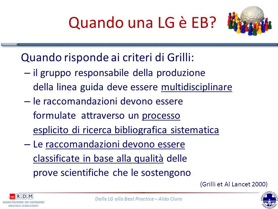 Dalle LG alla Best Practice – Aldo Ciuro Quando una LG è EB? Quando risponde ai criteri di Grilli: – il gruppo responsabile della produzione della lin