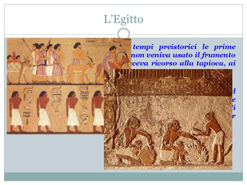 LEgitto Gli studiosi fanno risalire ai tempi preistorici le prime produzioni di pane; a quei tempi non veniva usato il frumento per preparare la farin