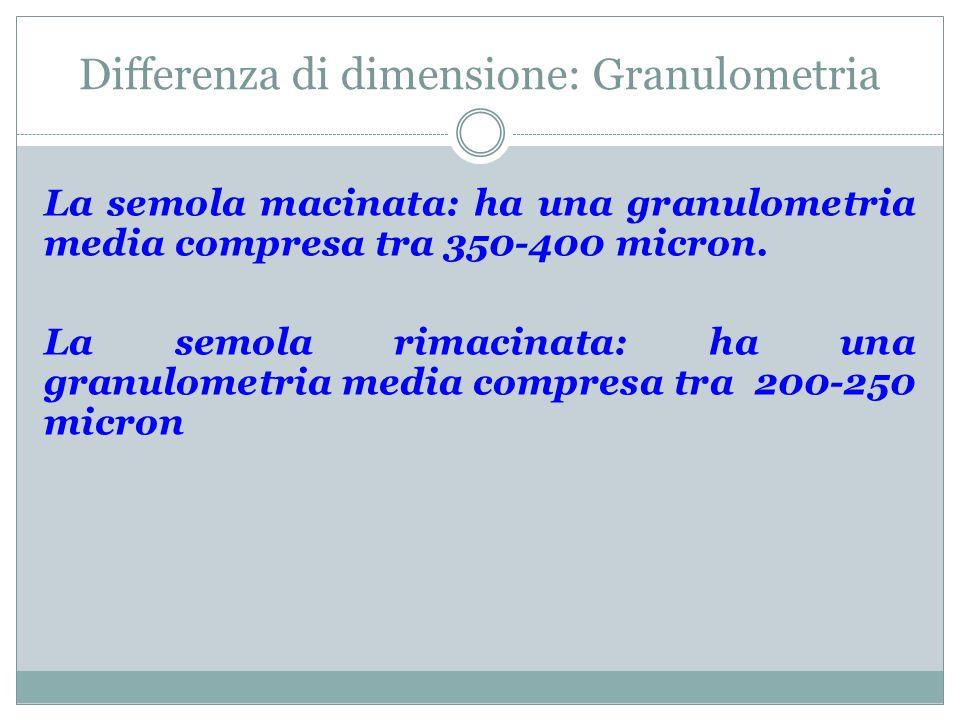 Differenza di dimensione: Granulometria La semola macinata: ha una granulometria media compresa tra 350-400 micron. La semola rimacinata: ha una granu