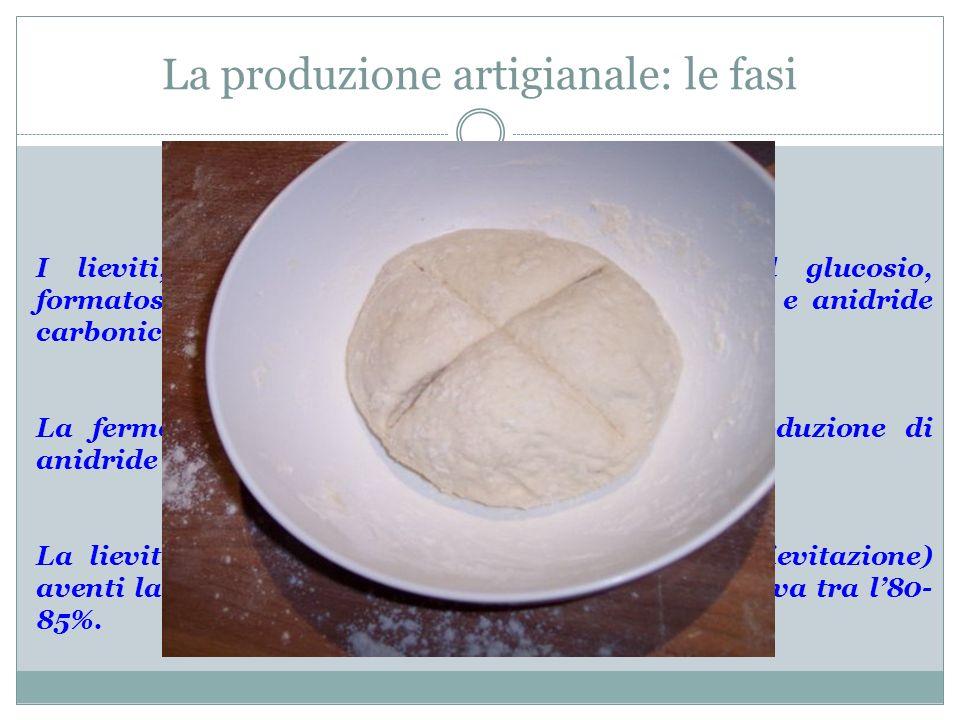 La produzione artigianale: le fasi I lieviti, presenti nellimpasto, trasformano il glucosio, formatosi per lidrolisi dellamido, in alcol etilico e ani
