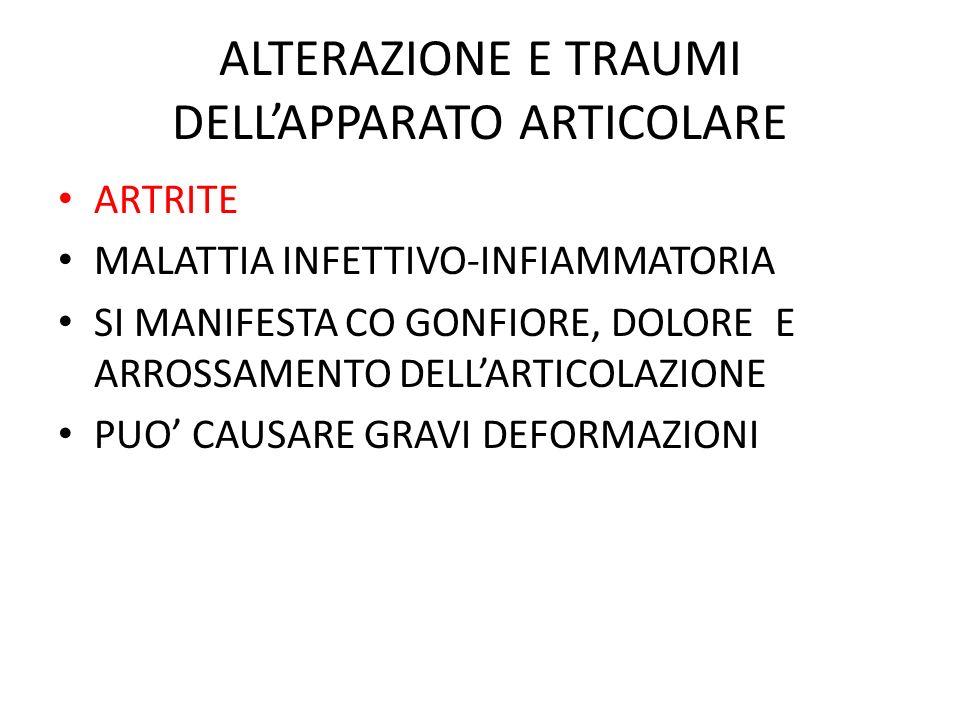 ALTERAZIONE E TRAUMI DELLAPPARATO ARTICOLARE ARTRITE MALATTIA INFETTIVO-INFIAMMATORIA SI MANIFESTA CO GONFIORE, DOLORE E ARROSSAMENTO DELLARTICOLAZION