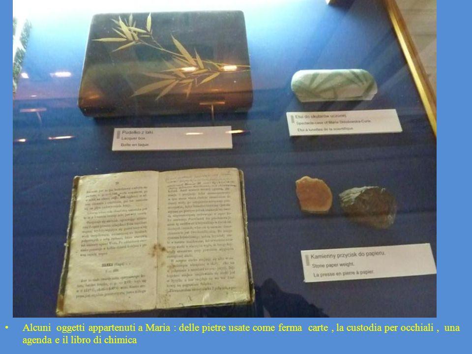 Alcuni oggetti appartenuti a Maria : delle pietre usate come ferma carte, la custodia per occhiali, una agenda e il libro di chimica