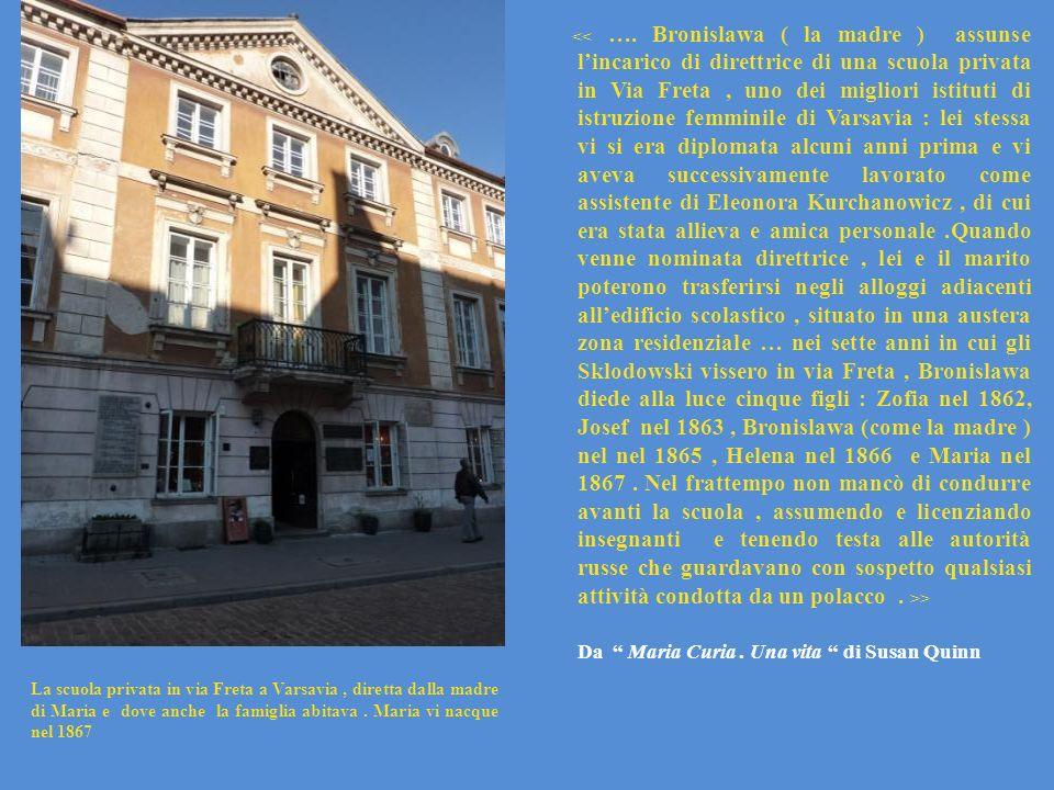La scuola privata in via Freta a Varsavia, diretta dalla madre di Maria e dove anche la famiglia abitava. Maria vi nacque nel 1867 > Da Maria Curia. U