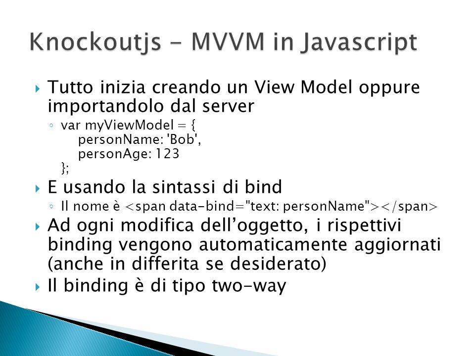 Tutto inizia creando un View Model oppure importandolo dal server var myViewModel = { personName: 'Bob', personAge: 123 }; E usando la sintassi di bin