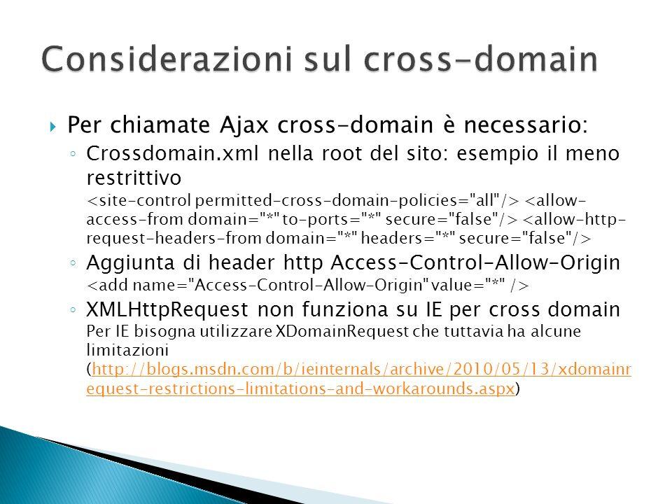 Per chiamate Ajax cross-domain è necessario: Crossdomain.xml nella root del sito: esempio il meno restrittivo Aggiunta di header http Access-Control-A