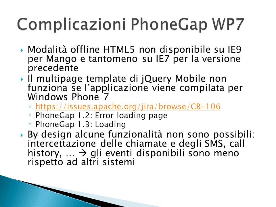Modalità offline HTML5 non disponibile su IE9 per Mango e tantomeno su IE7 per la versione precedente Il multipage template di jQuery Mobile non funzi