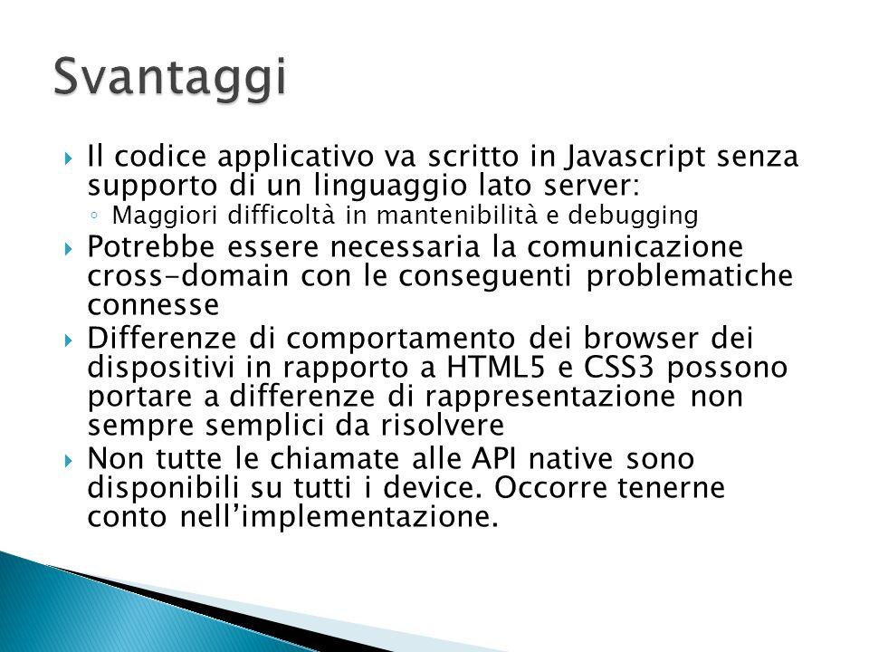 Il codice applicativo va scritto in Javascript senza supporto di un linguaggio lato server: Maggiori difficoltà in mantenibilità e debugging Potrebbe