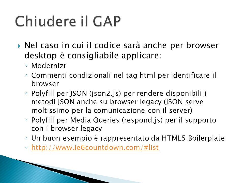 Nel caso in cui il codice sarà esclusivamente per dispositivi mobili: Applicare solo i polyfills strettamente richiesti (i browser mobile supportano HTML5 solitamente in modo migliore rispetto ai browser legacy).