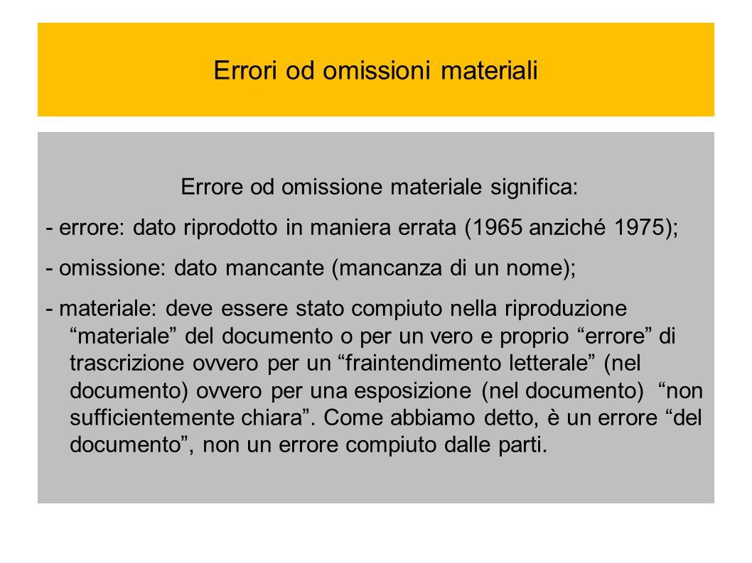 Errori od omissioni materiali Errore od omissione materiale significa: - errore: dato riprodotto in maniera errata (1965 anziché 1975); - omissione: d