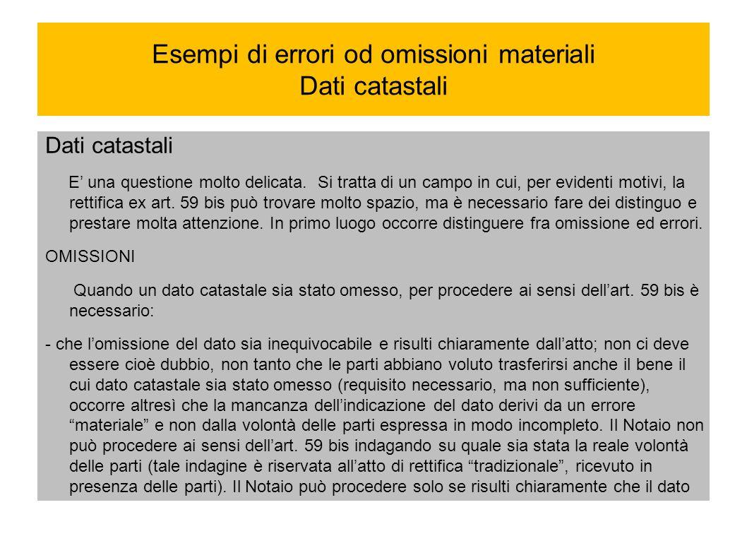 Esempi di errori od omissioni materiali Dati catastali Dati catastali E una questione molto delicata. Si tratta di un campo in cui, per evidenti motiv