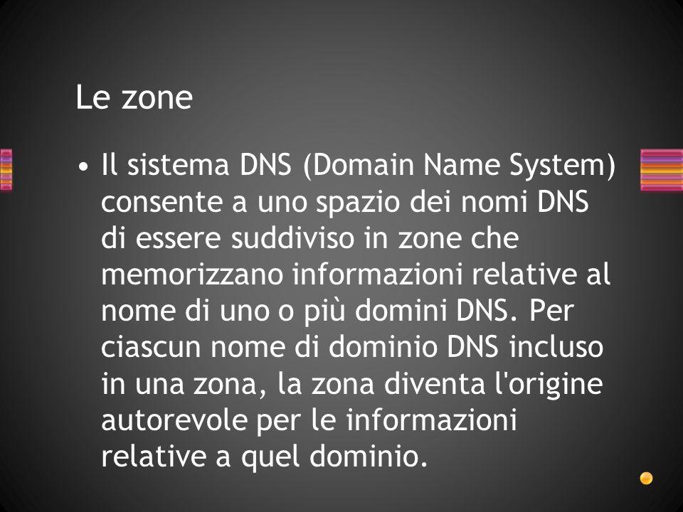 Il sistema DNS (Domain Name System) consente a uno spazio dei nomi DNS di essere suddiviso in zone che memorizzano informazioni relative al nome di un