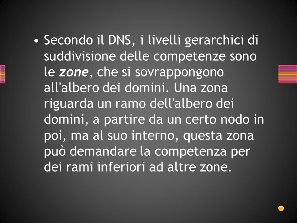 Secondo il DNS, i livelli gerarchici di suddivisione delle competenze sono le zone, che si sovrappongono all'albero dei domini. Una zona riguarda un r