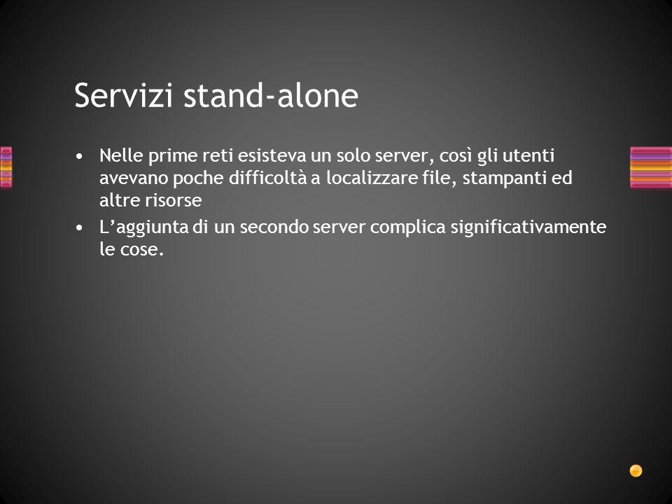 Servizi stand-alone Nelle prime reti esisteva un solo server, così gli utenti avevano poche difficoltà a localizzare file, stampanti ed altre risorse