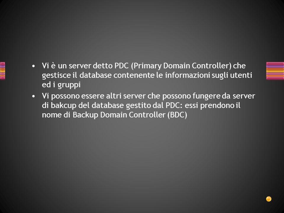 Vi è un server detto PDC (Primary Domain Controller) che gestisce il database contenente le informazioni sugli utenti ed i gruppi Vi possono essere al
