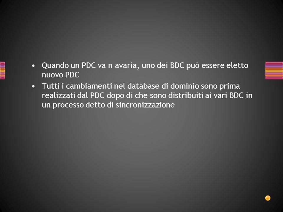 Quando un PDC va n avaria, uno dei BDC può essere eletto nuovo PDC Tutti i cambiamenti nel database di dominio sono prima realizzati dal PDC dopo di c