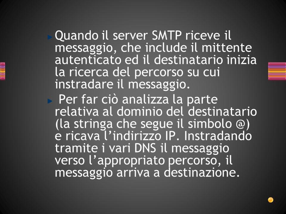 Quando il server SMTP riceve il messaggio, che include il mittente autenticato ed il destinatario inizia la ricerca del percorso su cui instradare il