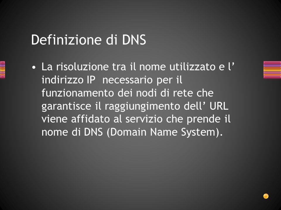 La risoluzione tra il nome utilizzato e l indirizzo IP necessario per il funzionamento dei nodi di rete che garantisce il raggiungimento dell URL vien