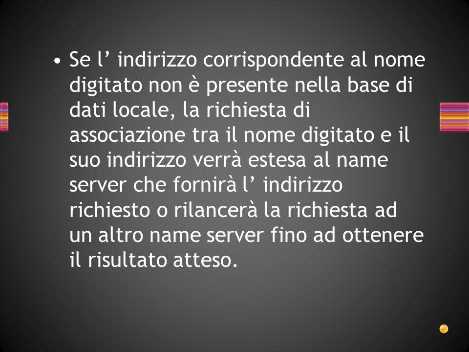 Se l indirizzo corrispondente al nome digitato non è presente nella base di dati locale, la richiesta di associazione tra il nome digitato e il suo in