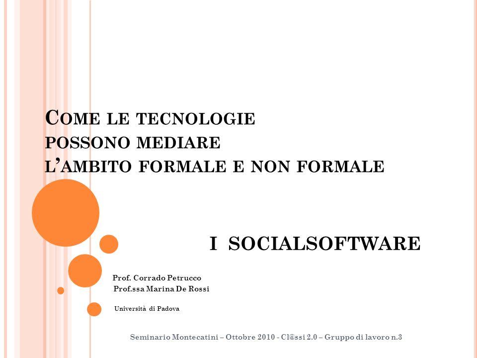 C OME LE TECNOLOGIE POSSONO MEDIARE L AMBITO FORMALE E NON FORMALE I SOCIALSOFTWARE Prof.