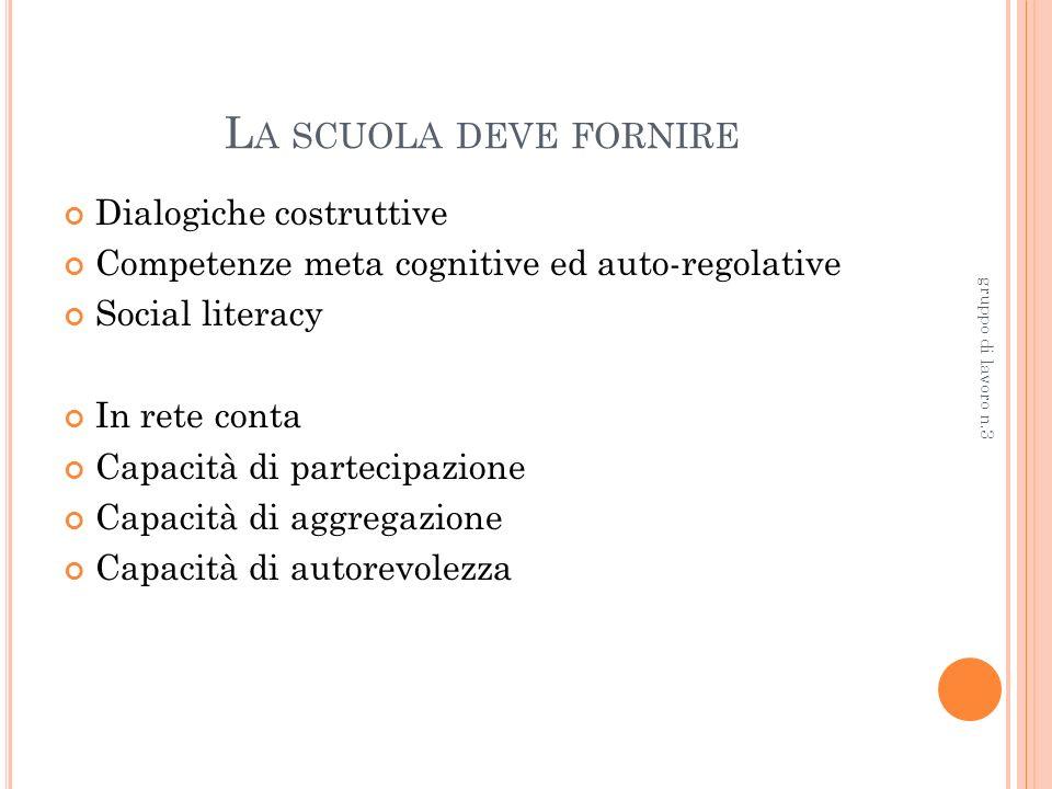 L A SCUOLA DEVE FORNIRE Dialogiche costruttive Competenze meta cognitive ed auto-regolative Social literacy In rete conta Capacità di partecipazione Capacità di aggregazione Capacità di autorevolezza gruppo di lavoro n.3