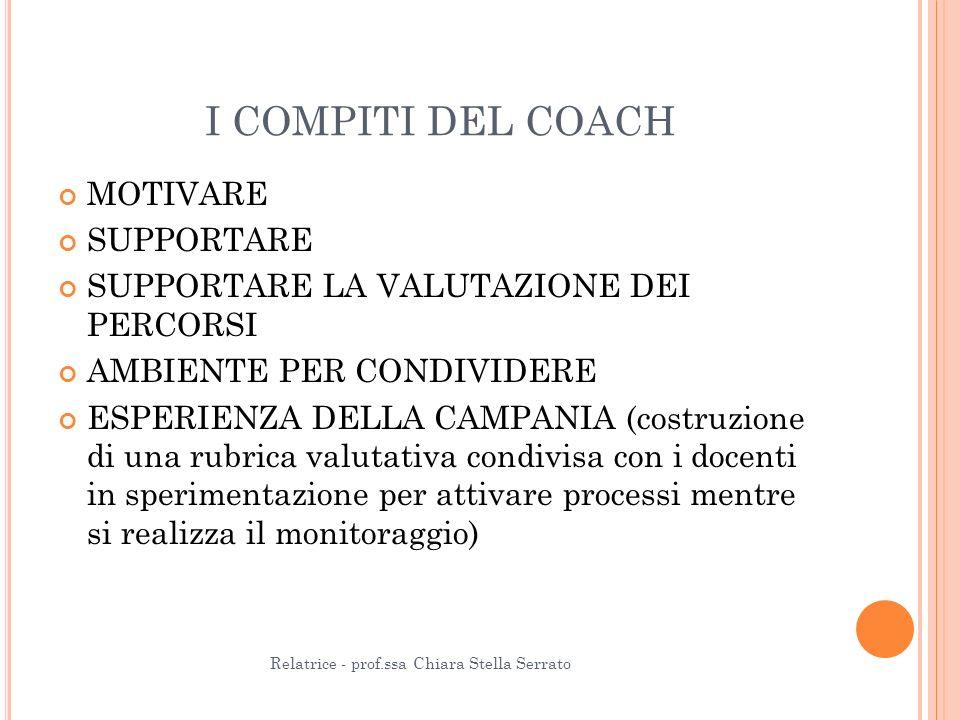 I COMPITI DEL COACH MOTIVARE SUPPORTARE SUPPORTARE LA VALUTAZIONE DEI PERCORSI AMBIENTE PER CONDIVIDERE ESPERIENZA DELLA CAMPANIA (costruzione di una rubrica valutativa condivisa con i docenti in sperimentazione per attivare processi mentre si realizza il monitoraggio) Relatrice - prof.ssa Chiara Stella Serrato