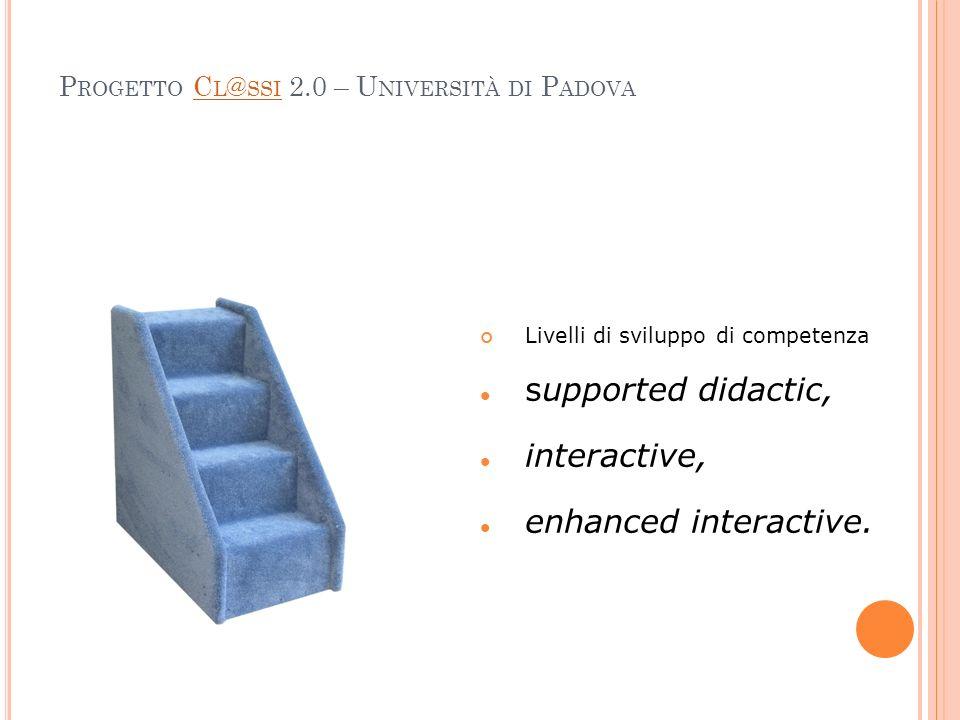 P ROGETTO C L @ SSI 2.0 – U NIVERSITÀ DI P ADOVAC L @ SSI Livelli di sviluppo di competenza supported didactic, interactive, enhanced interactive.