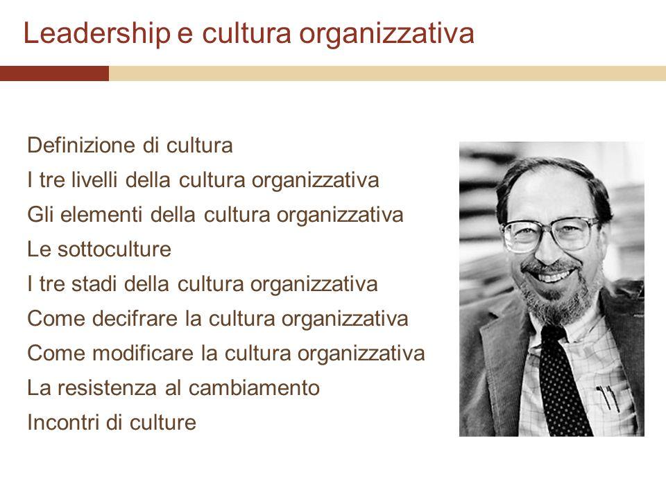 Leadership e cultura organizzativa Definizione di cultura I tre livelli della cultura organizzativa Gli elementi della cultura organizzativa Le sottoc