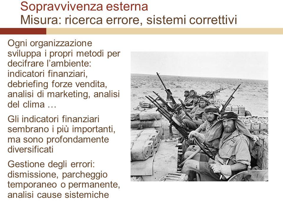 Sopravvivenza esterna Misura: ricerca errore, sistemi correttivi Ogni organizzazione sviluppa i propri metodi per decifrare lambiente: indicatori fina