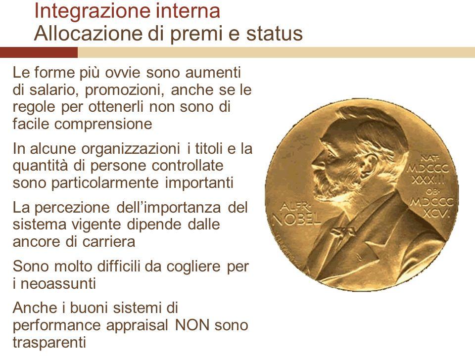 Integrazione interna Allocazione di premi e status Le forme più ovvie sono aumenti di salario, promozioni, anche se le regole per ottenerli non sono d