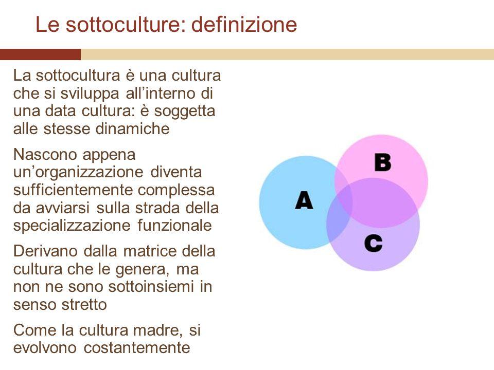 Le sottoculture: definizione La sottocultura è una cultura che si sviluppa allinterno di una data cultura: è soggetta alle stesse dinamiche Nascono ap