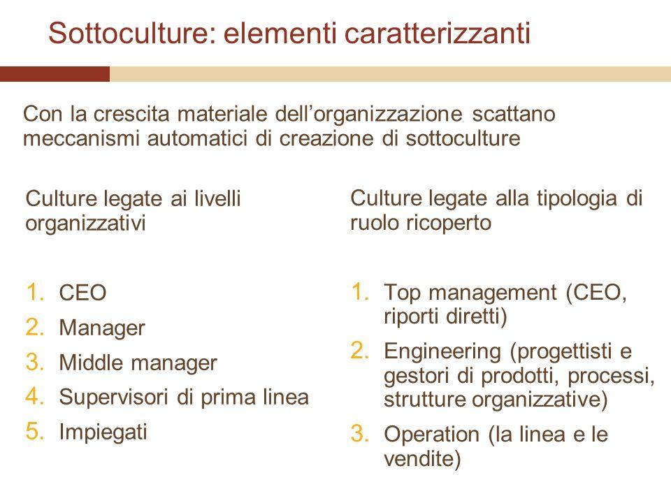 Sottoculture: elementi caratterizzanti Culture legate ai livelli organizzativi 1. CEO 2. Manager 3. Middle manager 4. Supervisori di prima linea 5. Im